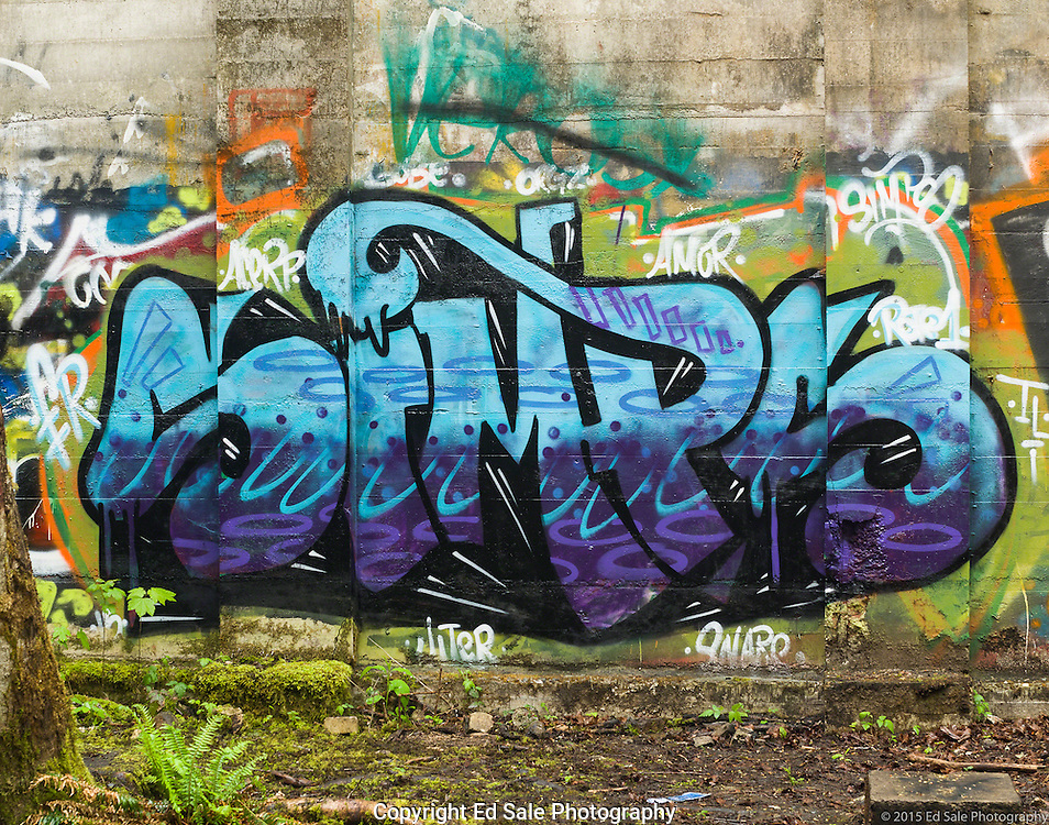 Street art painting in old mill building in Vernonia, Oregon.