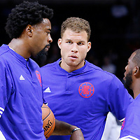 02 October 2015: Los Angeles Clippers forward Blake Griffin (32) and Los Angeles Clippers center DeAndre Jordan (6) listen to Los Angeles Clippers guard Chris Paul (3) prior to the Los Angeles Clippers 103-96 victory over the Denver Nuggets, in a preseason game, at the Staples Center, Los Angeles, California, USA.