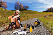 Scene reconstructed housewife who irons in the road