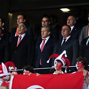 Turkish Football Federation president Yildirim Demiroren (L) during their FIFA World Cup 2014 qualifying soccer match Turkey betwen Estonia at Sukru Saracoglu stadium in Istanbul September 11, 2012. Photo by TURKPIX