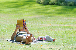 ©Licensed to London News Pictures 14/09/2020  <br /> Greenwich, UK. A lady sunbathing. Sunseekers at Greenwich park in Greenwich, South East London today as London basks in a warm September sun. credit:Grant Falvey/LNP