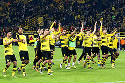DORTMUND, Sept. 18, 2017  Players of Borussia Dortmund celebrates after winning the Bundesliga soccer match against 1.FC Cologne at the Signal Iduna Park in Dortmund, Germany on Sept. 17, 2017. Borussia Dortmund won 5-0. (Credit Image: © Joachim Bywaletz/Xinhua via ZUMA Wire)