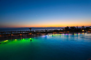 Jordan, Aqaba, Tala Bay Luxury Beach Resort. at sunset