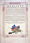 Czechoslovak Propaganda poster supporting America in World War I. 1918