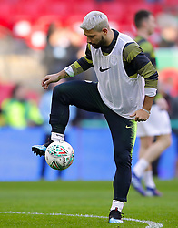 Manchester City's Sergio Aguero warms up ahead of the match
