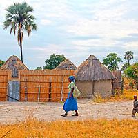 Africa, Botswana, Okavango Delta. Scene of village life int he Okavango Delta.