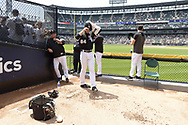 CHICAGO - JULY 03:  Dylan Cease #84 of the Chicago White Sox finishes up in the bullpen prior to making his Major League debut against the Detroit Tigers on July 3, 2019 at Guaranteed Rate Field in Chicago, Illinois.  (Photo by Ron Vesely)  Subject:  Dylan Cease