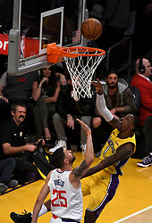 December 29, 2017 - Los Angeles, California, U.S. - Los Angeles Lakers guard Kentavious Caldwell-Pope (1) scores past LA Clippers guard Austin Rivers (25) in the first half of a NBA Basketball game at Staples Center on Friday, Dec. 29, 2017 in Los Angeles. (Credit Image: © Keith Birmingham/SCNG via ZUMA Wire)