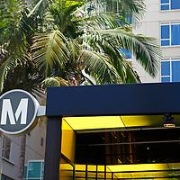USA, California, Los Angeles. Los Angeles Metro station sign.