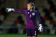 Grace Moloney, the Rep of Ireland goalkeeper looks on. .Friendly International Womens football, Wales Women v Republic of Ireland Women at Rodney Parade in Newport, South Wales on Friday 19th August 2016.<br /> pic by Andrew Orchard, Andrew Orchard sports photography.