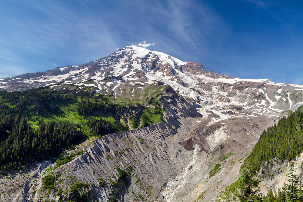 Mount Rainier and the terminus of the Nisqually Glacier in Mount Rainier National Park, Washington State, USA