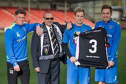 Cancer survivor shares story with Sir Alex Ferguson. East End Park. Dunfermline 31/10/2016<br /><br />Cancer survivor Tom Hart shares story with Sir Alex Ferguson. A man who was diagnosed with lung cancer will share his story with Sir Alex Ferguson to mark the start of Lung Cancer Awareness Month. Dunfermline Athletic FC, East End Park<br />L-R Dunfermline players David Hopkirk (Tom Hart) Euan Spark and Lewis Martin<br />(c)Craig Brown  Edinburgh Elite media