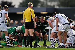 The London Irish front row prepare to scrummage - Photo mandatory by-line: Patrick Khachfe/JMP - Mobile: 07966 386802 22/08/2014 - SPORT - RUGBY UNION - Middlesex - Hazelwood - London Irish v Bristol Rugby - Pre-Season Friendly