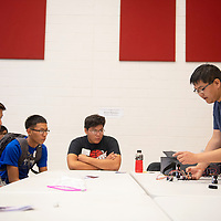 NTU student Calsey Nez, right, leads a session focusing on the robotics field, Wednesday, Nov. 20 at NTU in Crownpoint during STEM Day. Over 100 local high school students attended STEM Day at NTU.