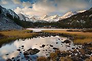 Sunrise on Bear Creek Spire from Little Lakes Valley along Rock Creek in the John Muir Wilderness,  Eastern Sierra Nevada Mountains, California