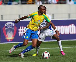 Tebogo Langerman of Mamelodi Sundowns and Thembinkosi Lorch of Chippa United during the 1st leg of the MTN8 Semi Final between Chippa United and Mamelodi Sundowns held at the Nelson Mandela Bay Stadium in Port Elizabeth, South Africa on the 11th September 2016<br /><br />Photo by: Richard Huggard / Real Time Images