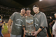 HOUSTON - OCTOBER 26:  A.J. Pierzynski, Aaron Rowand and Joe Crede of the Chicago White Sox celebrate after winning Game 4 of the 2005 World Series against the Houston Astros at Minute Maid Park on October 26, 2005 in Chicago, Illinois.  The White Sox defeated the Astros 1-0.