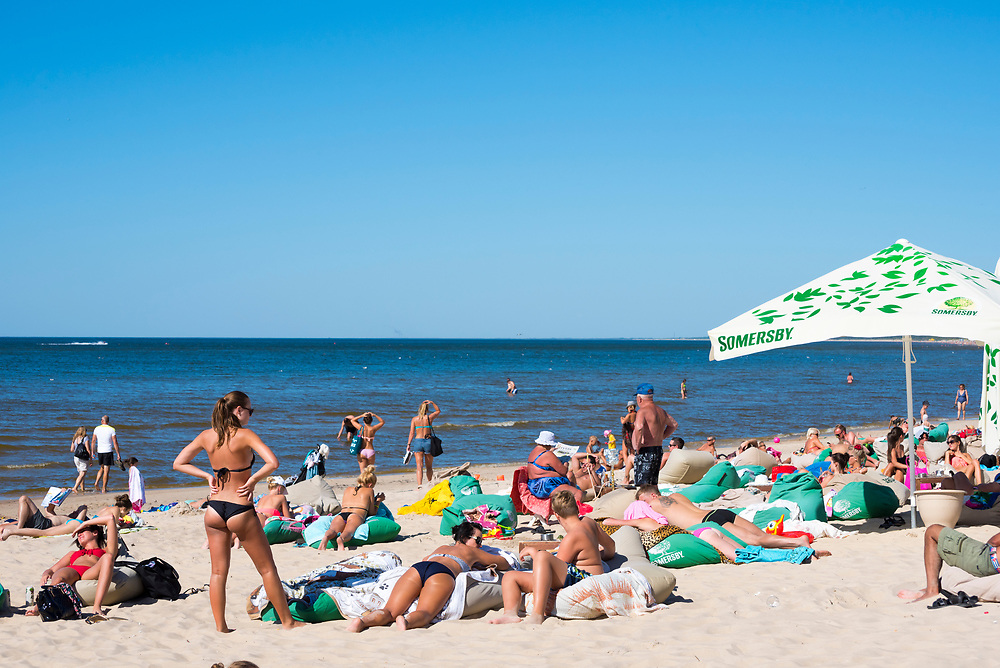 Palanga, Lithuania - August 18, 2015: People enjoy a late summer day at the beach in the Baltic holiday town of Palanga, Lithuania.