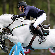 NORTH SALEM, NEW YORK - May 15: Jonathan McCrea, USA, riding Brugal VDL, in action during The $50,000 Old Salem Farm Grand Prix presented by The Kincade Group at the Old Salem Farm Spring Horse Show on May 15, 2016 in North Salem. (Photo by Tim Clayton/Corbis via Getty Images)