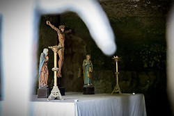 Altar in the 14th century Saint Quirin chapel, Luxembourg.