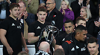 Rugby Union - 2017 Autumn Internationals - New Zealand vs. Barbarians<br /> <br /> Beauden Barrett of The All Blacks lifts The Killock Cup at Twickenham.<br /> <br /> COLORSPORT/LYNNE CAMERON