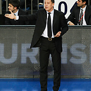 Anadolu Efes's coach Ufuk Sarica during their Turkish Airlines Euroleague Basketball Group C Game 10 match Anadolu Efes between Real Madrid at Sinan Erdem Arena in Istanbul, Turkey, Thursday, December 22, 2011. Photo by TURKPIX