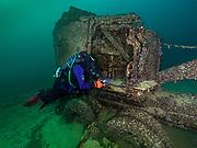 KISS Spirit rebreather diver on the air force crane wreck at Dutch Springs, Scuba Diving Resort in Pennsylvania