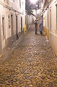 Street view. Cobble stones. Evora, Alentejo, Portugal