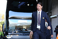 Zlatan Ibrahimovic of Manchester Utd arrives at the stadium off the team bus .Premier league match, Swansea city v Manchester Utd at the Liberty Stadium in Swansea, South Wales on Sunday 6th November 2016.<br /> pic by  Andrew Orchard, Andrew Orchard sports photography.