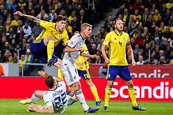 November 20, 2018 - Stockholm, SVERIGE - 181120 Victor Nilsson LindelÅ¡f of Sweden scores 1-0 during the Nations League football match between Sweden and Russia on November 20, 2018 in Stockholm. (Credit Image: © Andreas L Eriksson/Bildbyran via ZUMA Press)