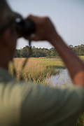 Close-up of safari guide looking for tigers, Tadoba National Park, India