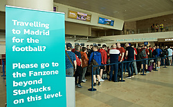 LIVERPOOL,  ENGLAND - Friday, May 31, 2019: Supporters begin to check-in at Liverpool John. Lennon Airport ahead of the. UEFA Champions League Final between Tottenham Hotspur FC and Liverpool FC in Madrid. (Pic by David Rawcliffe/Propaganda)