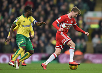 Middlesbrough's Patrick Bamford controlling the ball with Norwich's  Alexander Tettey shadowing<br /> <br /> Photographer Jon Hobley/CameraSport<br /> <br /> The EFL Sky Bet Championship - Norwich City v Middlesbrough - Saturday 3rd February 2018 - Carrow Road - Norwich<br /> <br /> World Copyright © 2018 CameraSport. All rights reserved. 43 Linden Ave. Countesthorpe. Leicester. England. LE8 5PG - Tel: +44 (0) 116 277 4147 - admin@camerasport.com - www.camerasport.comMiddlesbrough's Patrick Bamford, Alexander Tettey <br /> <br /> Photographer Jon Hobley/CameraSport<br /> <br /> The EFL Sky Bet Championship - Norwich City v Middlesbrough - Saturday 3rd February 2018 - Carrow Road - Norwich<br /> <br /> World Copyright © 2018 CameraSport. All rights reserved. 43 Linden Ave. Countesthorpe. Leicester. England. LE8 5PG - Tel: +44 (0) 116 277 4147 - admin@camerasport.com - www.camerasport.com