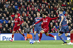October 24, 2018 - Liverpool, England, United Kingdom - Liverpool forward Mohamed Salah (11) scores his goal during the Uefa Champions League Group Stage football match n.3 LIVERPOOL - CRVENA ZVEZDA on 24/10/2018 at the Anfield Road in Liverpool, England. (Credit Image: © Matteo Bottanelli/NurPhoto via ZUMA Press)