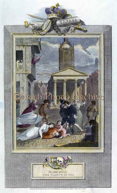 Plague of London, 1665. Scenes of death and despair in a London street during the plague. Engraving of 1810