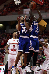 22 December 2015: Xavier Richards(3) grabs a loose ball. Illinois State Redbirds host the Tennessee State Tigers at Redbird Arena in Normal Illinois (Photo by Alan Look)