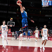 TOKYO, JAPAN - JULY 25:  Zachary Lavine #5 of the United States drives to the basket during the USA V France basketball preliminary round match at the Saitama Super Arena at the Tokyo 2020 Summer Olympic Games on July 25, 2021 in Tokyo, Japan. (Photo by Tim Clayton/Corbis via Getty Images)