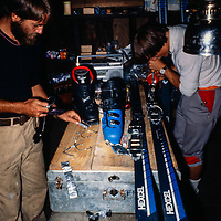 Jay Jensen and Lanny Johnson mount ski bindings for an expedition to Baruntse Peak in the Khumbu region of Nepal. 1980