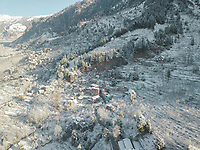 Aerial view of snowfall in the hills of vashisht area of Manali, Himachal Pradesh, India.