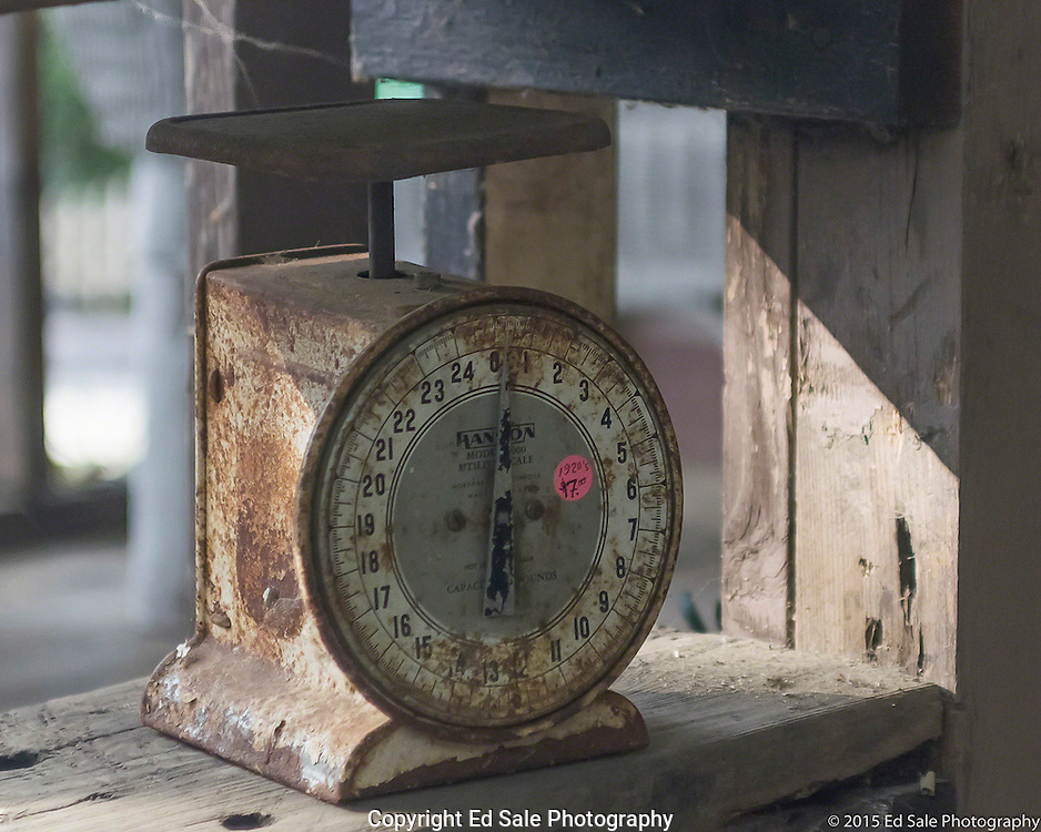 Antique measuring scale on front porch of The Art Shack in Locke, California
