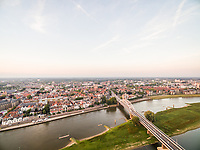 Aerial view of Wilhelminabrug bridge crossing the Ijssel river, Deventer, Netherlands.