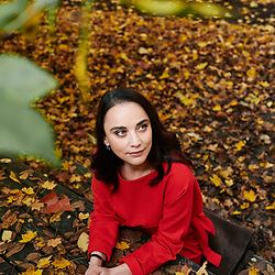 """Anastasia Mikova, journalist and director of the movie """"Woman"""", posing at the Fondation GoodPlanet. Paris, France. November 20,  2019."""