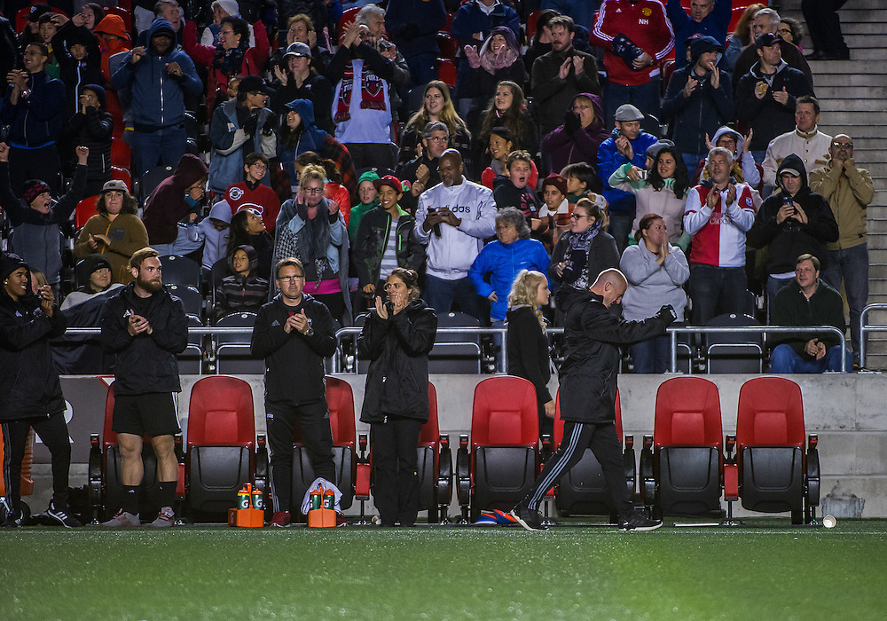 Fury head coach Paul Dalglish celebrates Fury's third goal during the NASL match between the Ottawa Fury FC and Minnesota United FC at TD Place Stadium in Ottawa, ON. Canada on Sept. 24, 2016. Fury extending their unbeaten run to 7 games with a 3-1 win after trailing 1-0 at half time.<br /> <br /> PHOTO: Steve Kingsman/Freestyle Photography