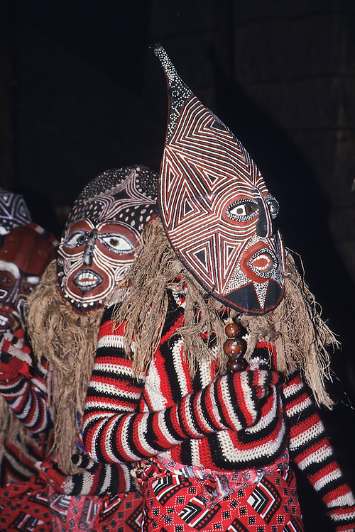 Africa, Tanzania, near Ngorogoro Crater, tribal dancers in masks at night