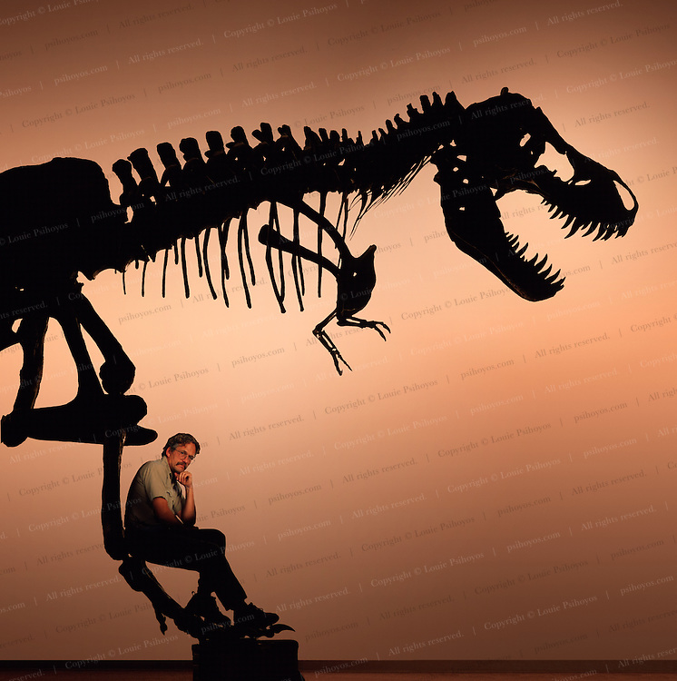 """T. Rex, """"tyrant lizard king,"""" was excavated and prepared by the Black Hills Institute and named after the discoveror, Stan Sacrison.  Shown with Black Hills Institute founder and author Pete Larson"""