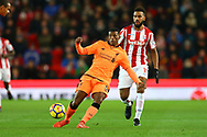 Georginio Wijnaldum of Liverpool passes the ball back. Premier league match, Stoke City v Liverpool at the Bet365 Stadium in Stoke on Trent, Staffs on Wednesday 29th November 2017.<br /> pic by Chris Stading, Andrew Orchard sports photography.