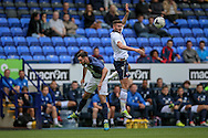 Gary Madine (Bolton Wanderers) wins the header during the Pre-Season Friendly match between Bolton Wanderers and Preston North End at the Macron Stadium, Bolton, England on 30 July 2016. Photo by Mark P Doherty.