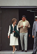 President  Ronald Reagan and First Lady Nancy Reagan leaving Bethesda Naval Hospital after a check up. At the time I though that there was something bothering his eye. He was rubbing it the weeks before when he was in Guam, and in China and the week before at a State Dinner. The check up was May 18, 1984<br /> <br /> by Dennis Brack
