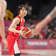 TOKYO, JAPAN August 8:   Nako Motohashi #15 of Japan in action during the Japan V USA basketball final for women at the Saitama Super Arena during the Tokyo 2020 Summer Olympic Games on August 8, 2021 in Tokyo, Japan. (Photo by Tim Clayton/Corbis via Getty Images)