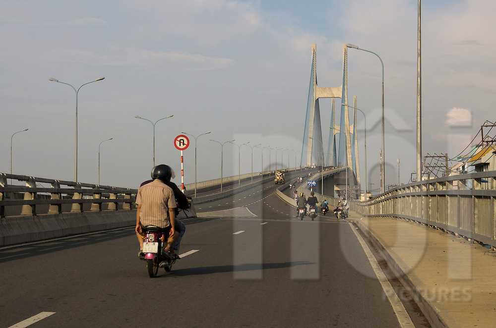 Beltway entrance of Phu My Brige in District 7, Ho Chi Minh city, Vietnam, Asia